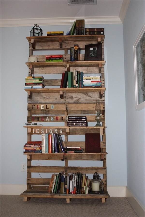 Pallet Bookshelf Stores The Mess Inside  Pallets - Diy bookshelves