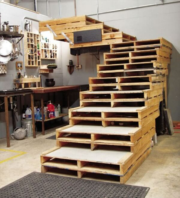 Pallet used in office as a furniture like table and staircase.