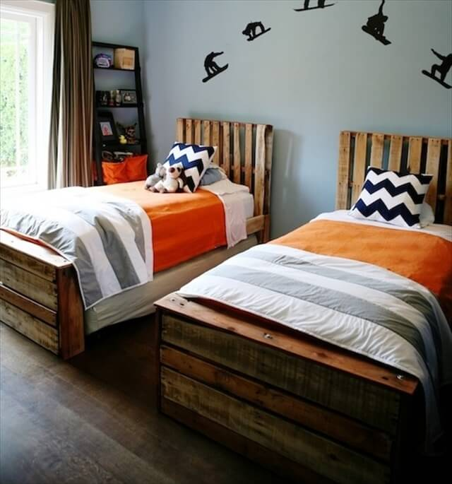 Bed Pallets Ideas: Wooden Pallet Platform Bed For New Bedroom