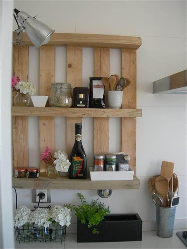 25 diy pallet shelves for storage your things 101 pallets. Black Bedroom Furniture Sets. Home Design Ideas