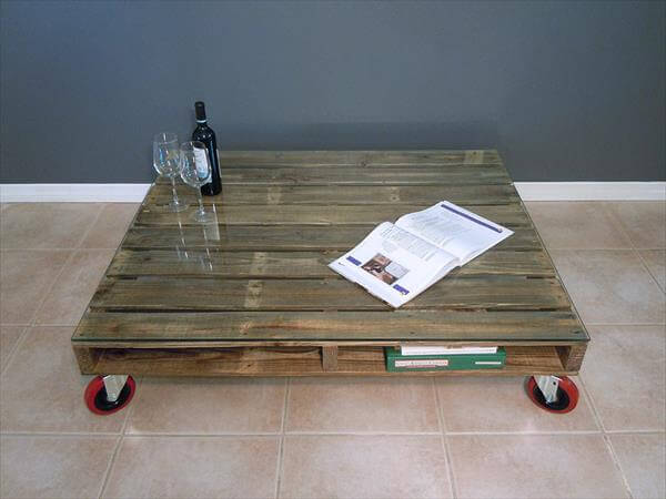 Pallet Coffee Table With Glass Top Pallets