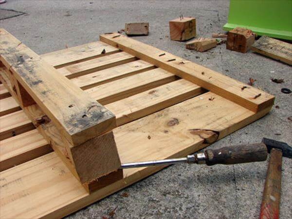 removing nail step for pallet coat rack