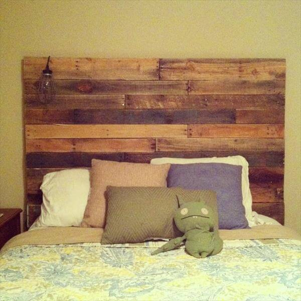 27 diy pallet headboard ideas 101 pallets for How to make a wood pallet headboard