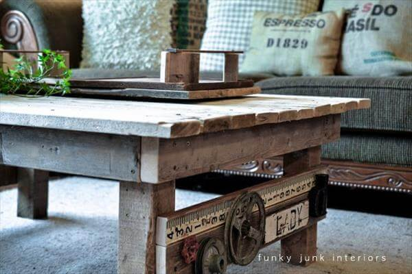 Diy wooden pallet coffee table project 101 pallets for Coffee table made out of pallet wood