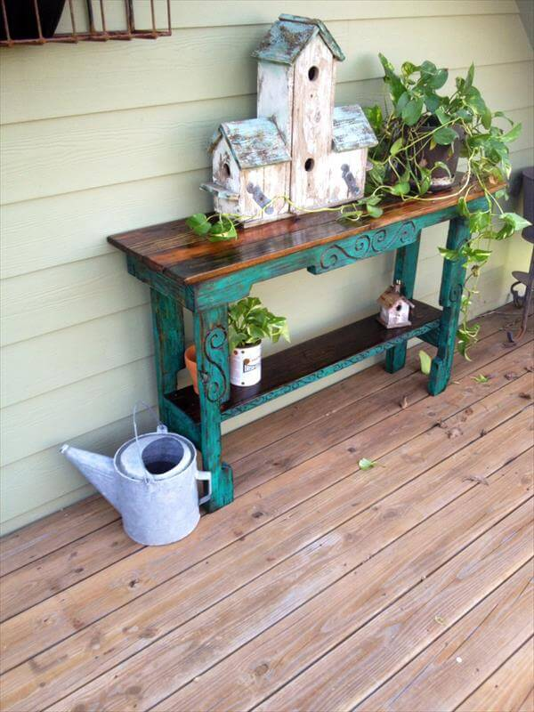 Diy pallet entry way table sofa side table 101 pallets for Sofa table made from pallets