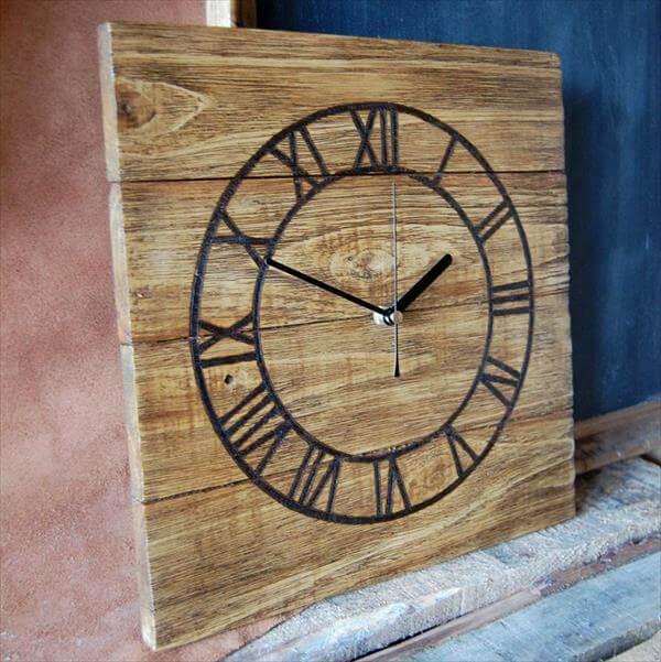 ... Wood Wall Clock DIY Pallet Wood Clock DIY Wooden Pallet Wall Clock