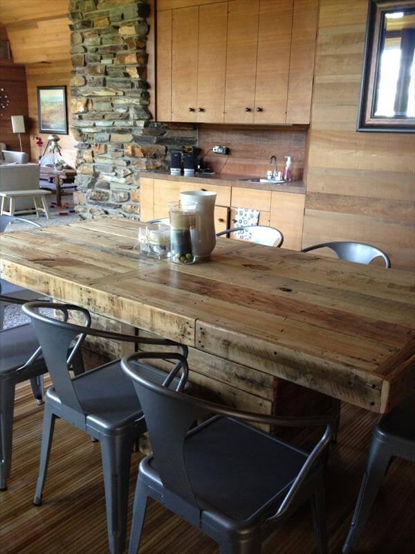 ... steel legs diy pallet wood dining table with steel legs diy reclaimed