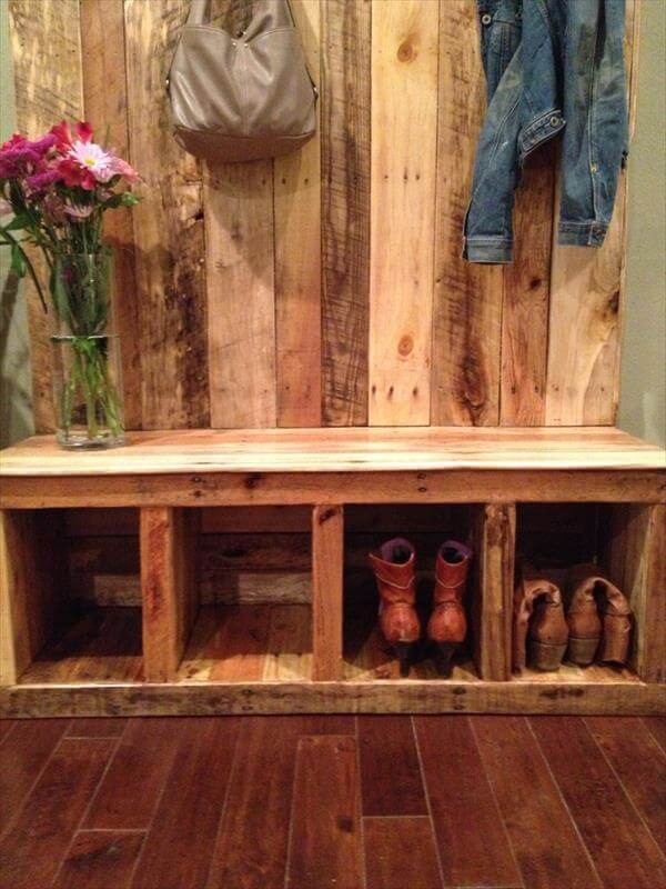 storage bench pallet wood bench