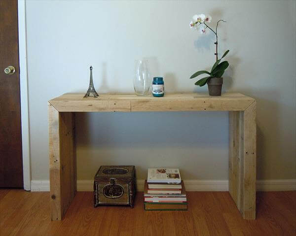 recycled pallet console table