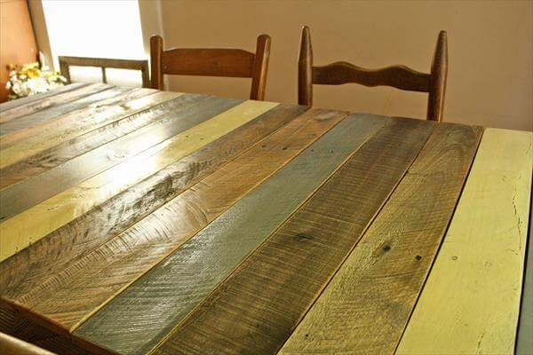 Diy Reclaimed Wooden Pallet Dining Table Round Top Pallet Dining Table