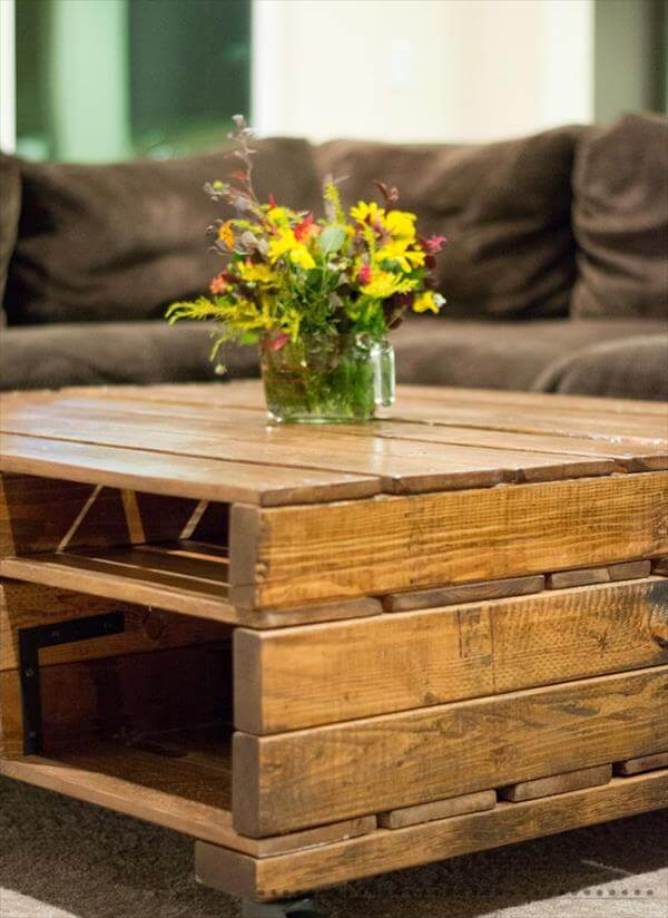 Black Stained Pallet Coffee Table With Wheels Pallet Coffee Table