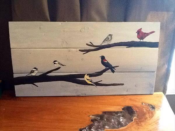 recycled pallet bird wall art