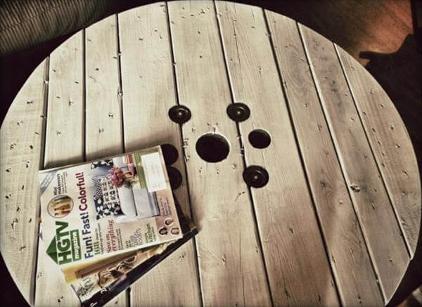 diy cable drum coffee table