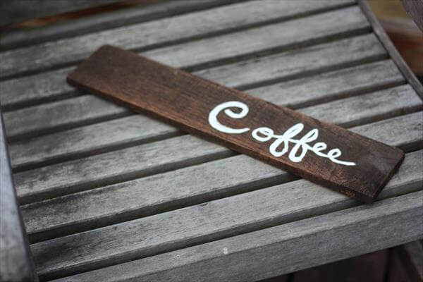 repurposed pallet coffee sign