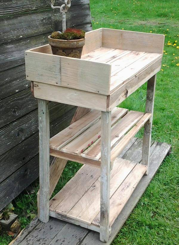 diy recycled pallet potting bench diy pallet and maple potting bench ...