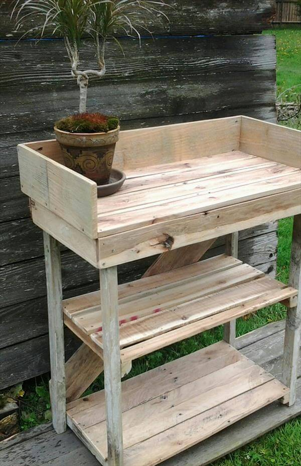 Diy potting bench made with pallets 101 pallets for Diy outdoor pallet bench