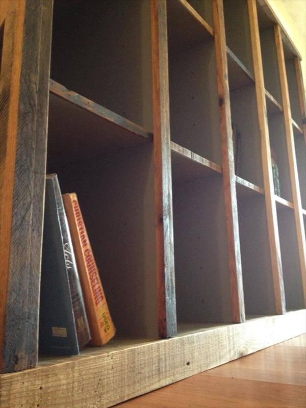 restored pallet bookshelf