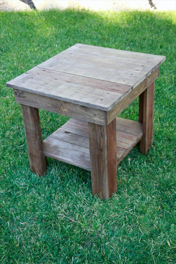 Rustic wood end table 101 pallets for End tables made from pallets