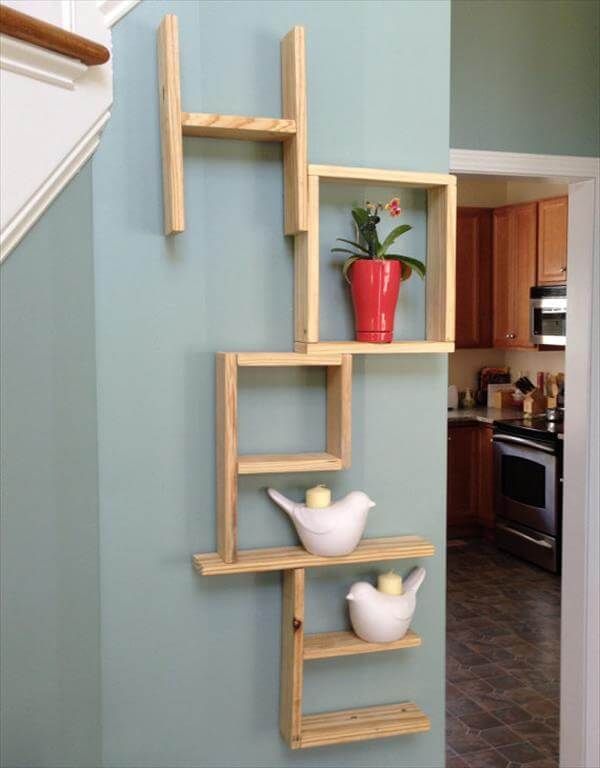... DIY Pallet Colorful Geometrical Wall Shelf 10 DIY Wooden Pallet Wall