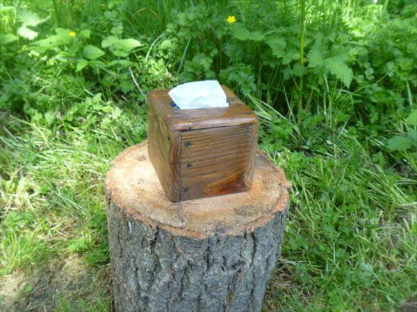 recycled pallet tissue box