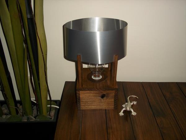 repurposed pallet industrial table lamp