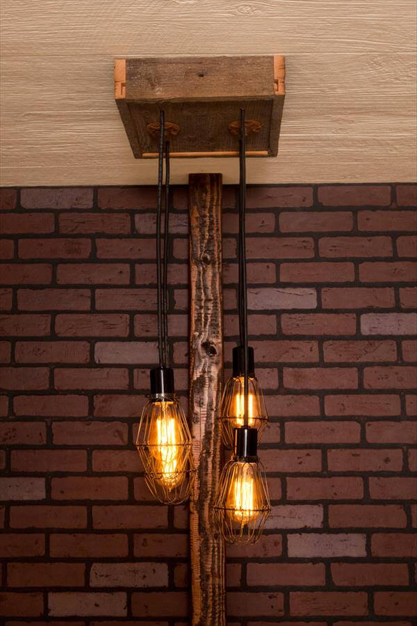 upcycled pallet caged light chandelier