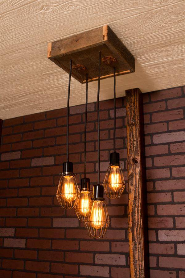 diy pallet light chandelier