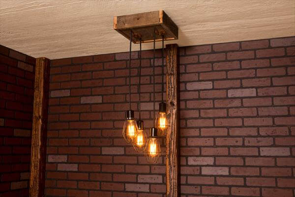 recycled pallet caged light chandelier