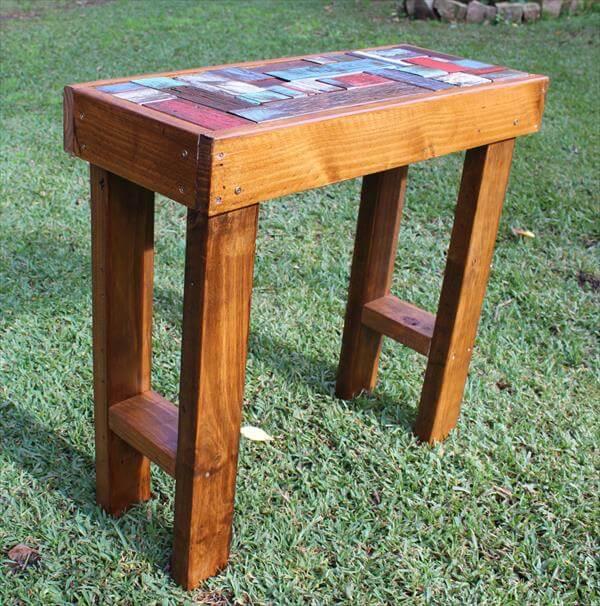 wood side table from pallets 101 pallets. Black Bedroom Furniture Sets. Home Design Ideas