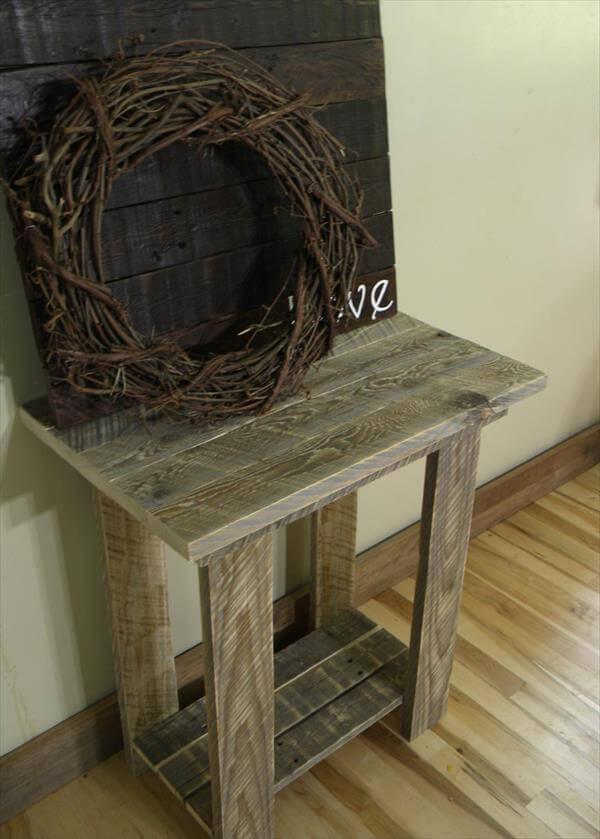 Rustic pallet end table 101 pallets for End tables out of pallets