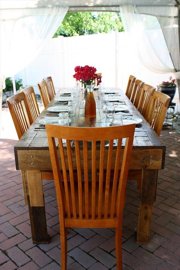 Outdoor upcycled dining table 101 pallets for Upcycled dining table