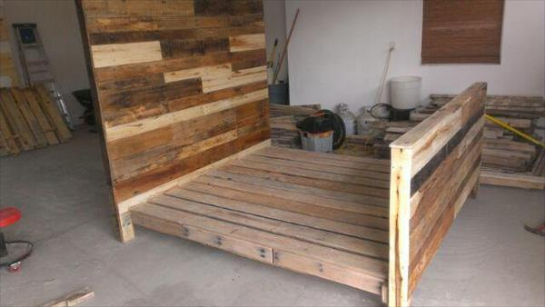 DIY Pallet Wood Bed Frame