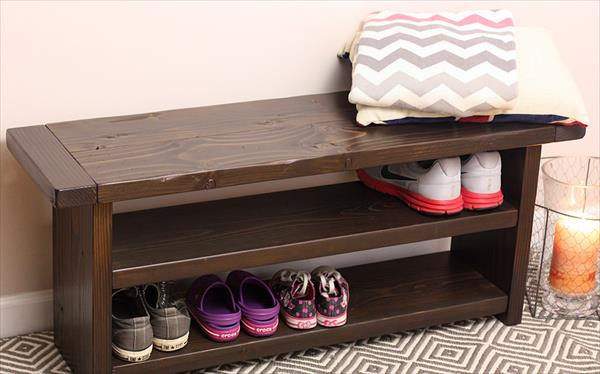 recycled pallet bench and shoes rack