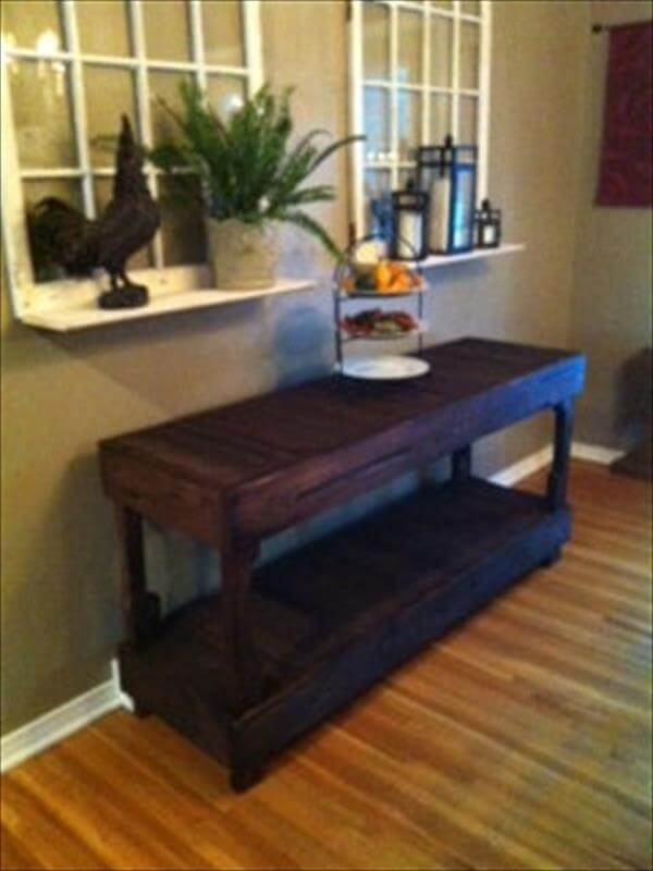 Buffet Table Out Of Pallets Plans Diy