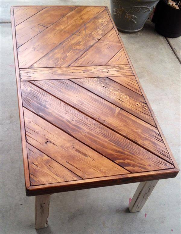 DIY Pallet Coffee Table Chevron Style 101 Pallets
