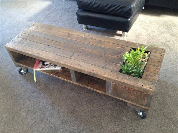 DIY Industrial Pallet Coffee Table with Planter