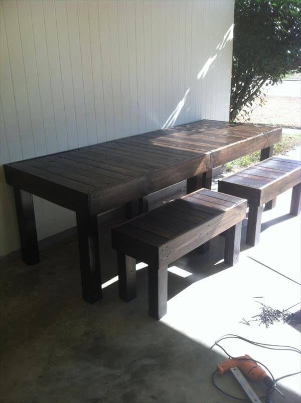 table diy pallet wood dining table with steel legs diy reclaimed
