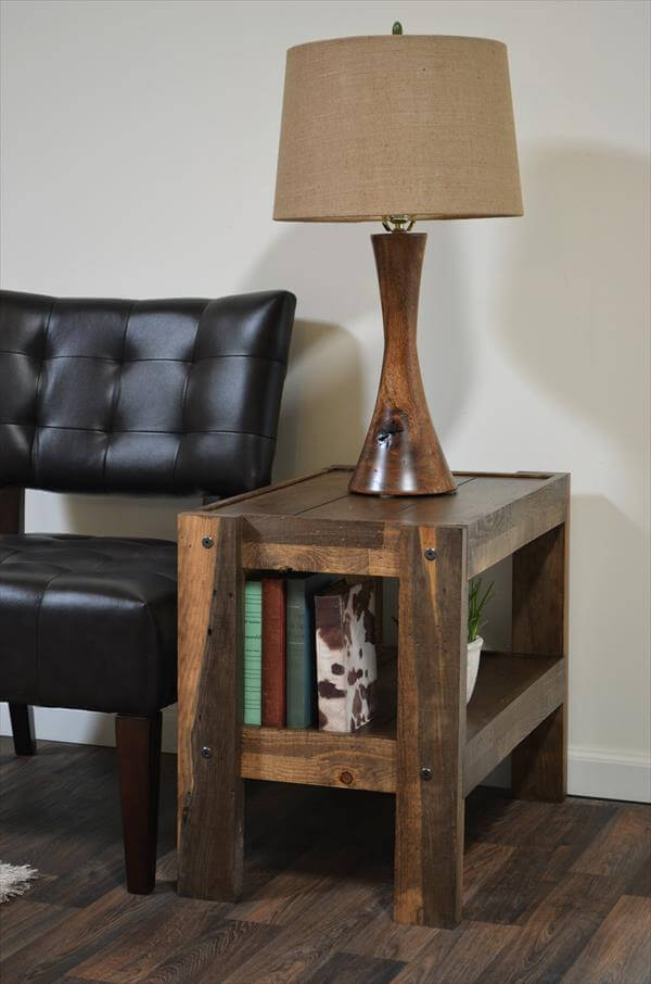 Diy barn wood pallet end table 101 pallets for Diy coffee and end tables