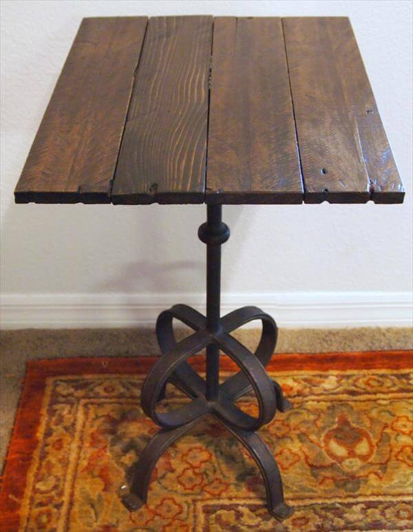 reclaimed pallet metal side table