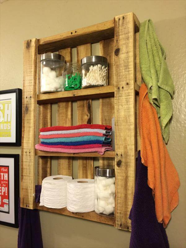 reclaimed pallet bathroom wall hanging shelf
