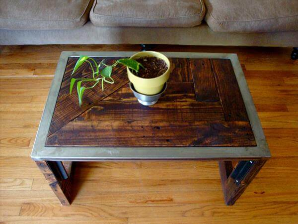 reclaimed pallet steel coffee table. Pallet Industrial Coffee Table   101 Pallets