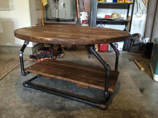 Wood Pallet Desk with Iron Pipe Base DIY Industrial Pallet Pipe Desk ...