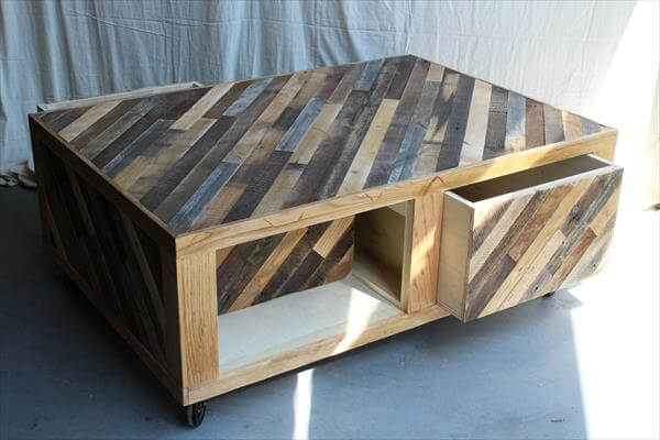 pallet coffee table wheels and storage 101 pallets. Black Bedroom Furniture Sets. Home Design Ideas