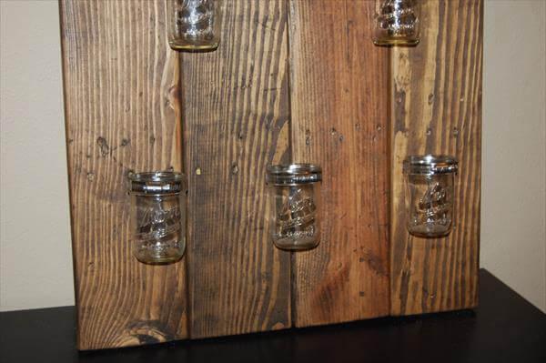 Headboard with shelves headboard with shelves diy headboard with - Diy Pallet Mason Jar Bathroom Shelf 101 Pallets