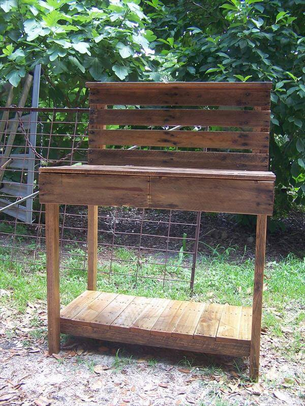 Diy pallet potting bench buffet 101 pallets for Building a bench from pallets