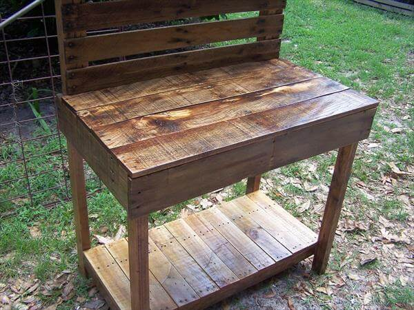potting Bench / Buffet Table Reclaimed Pallet Garden Potting Table DIY ...