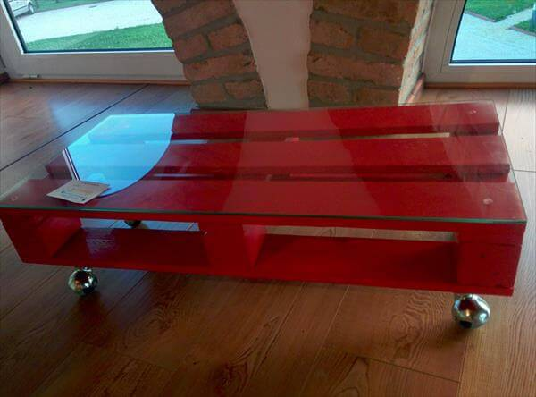 reclaimed pallet red coffee table with wheels