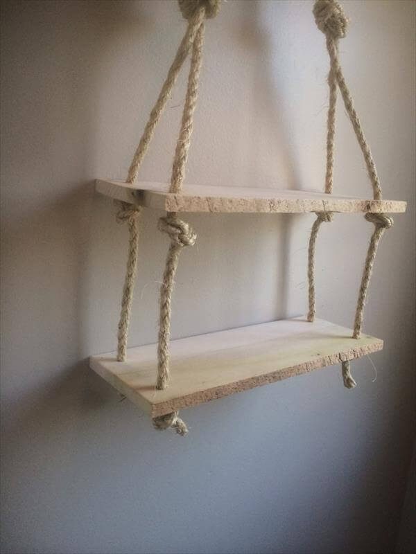 Diy Recycled Pallet Rope Shelves 101 Pallets