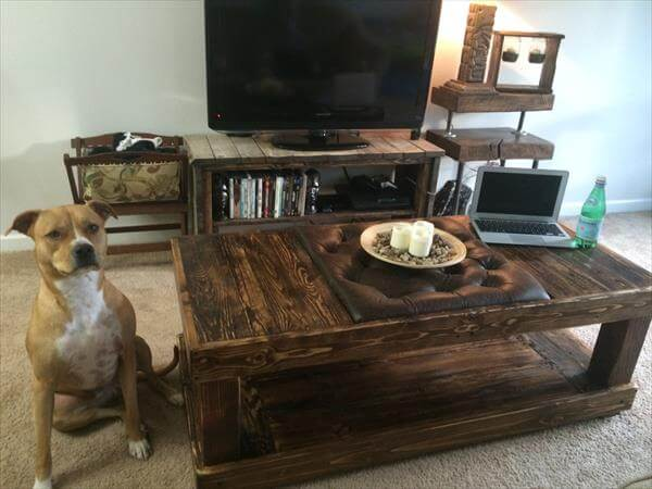 diy pallet tufted coffee table