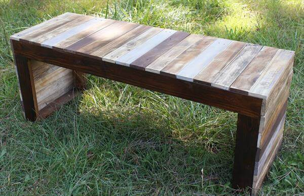 Diy pallet dog bed kid s sofa bench 101 pallets for Building a bench from pallets